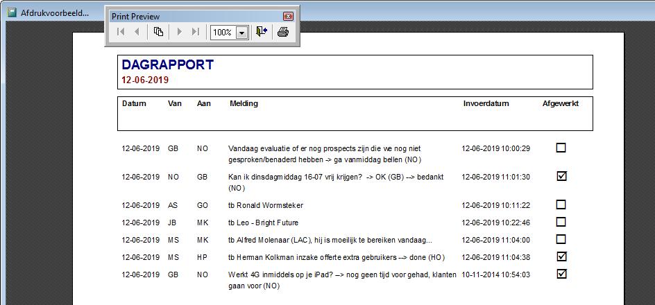 WinVIS dagrapport rapportage