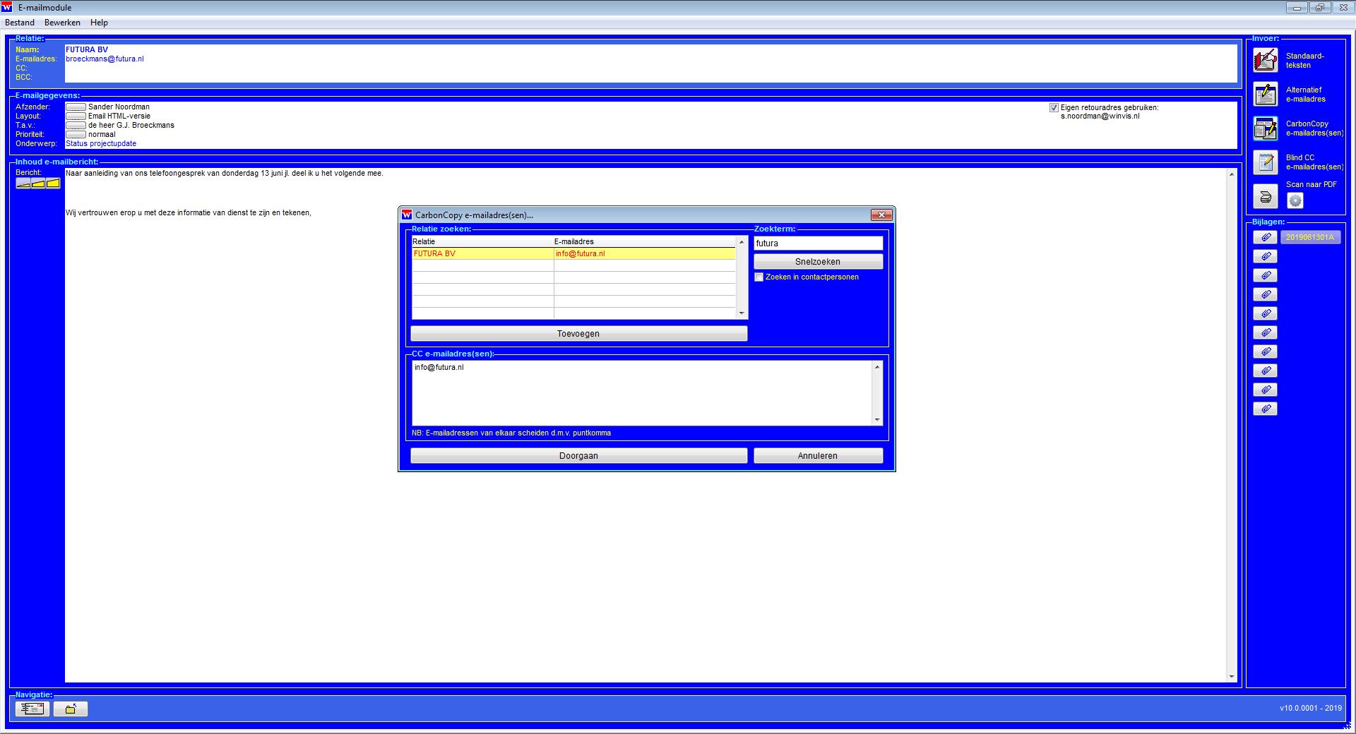 WinVIS e-mail