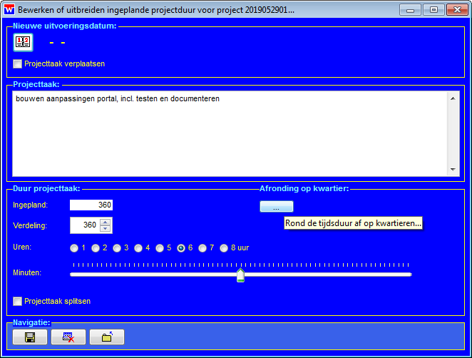 WinVIS projecttaken bewerken